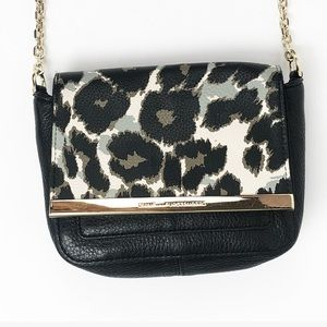 DVF Black Leather Leopard Crossbody Bag